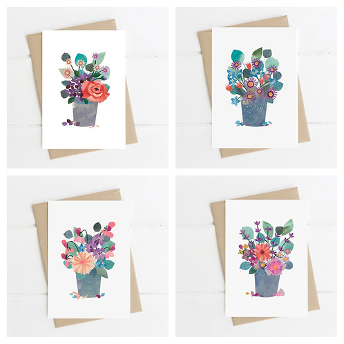 Set of 4 Floral Greetings Cards
