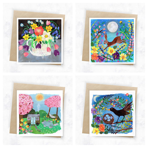 Spring Greeting Cards - Mixed pack of 4