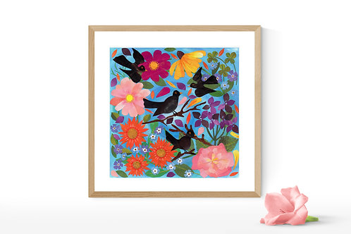 Blackbirds Sweet Song - Limited Edition Gesso Print