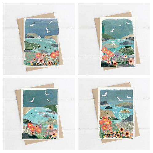 Set of 4 Flora & Fauna Greetings Cards