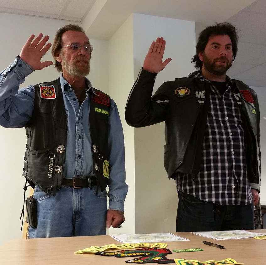 Cleveland and Juicebox being sworn in
