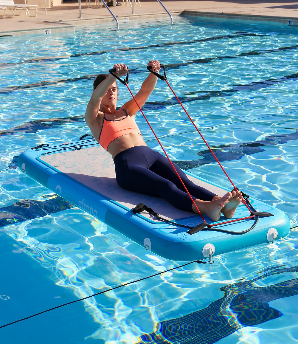 This natural response mechanism is called core stability, which is defined as the coordinated effort of the deep muscles of the trunk, pelvis, hips, abdominal muscles and small muscles along the spinal column to contract together to create the force used to hold the spinal column in alignment. When exercising on the Aqua Body Strong™ floating fitness mat your core stabilizing muscles naturally engage to keep you on the board. Even during the simplest of exercises, like sitting on the board, you will feel your core muscles working.
