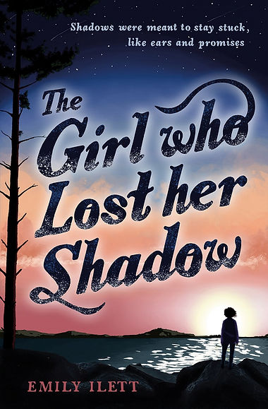 Front cover of The Girl Who Lost Her Shadow. The title font is dark with sparkles, and sits over an image of a girl looking out across the sea into a pink and blue sunset.