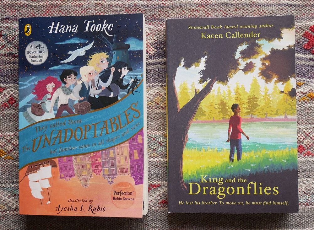 Two book covers. On the left: The Unadoptables by Hana Tooke; on the right, King and the Dragonflies by Kacen Callender