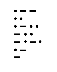 Morse code written in black dots and dashes. Dot dash dash / dot dot / dot dash dot dot / dash dot dot / dash dot dash dot / dot dash / dash.