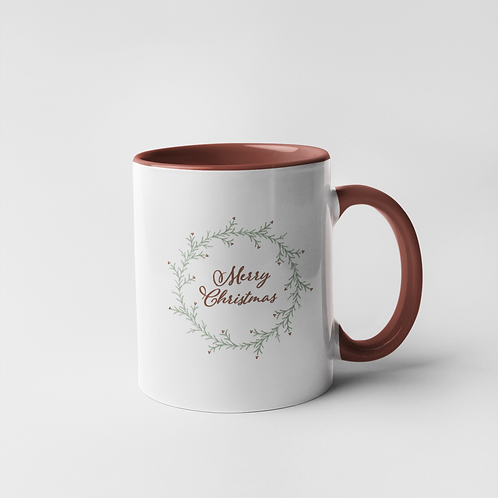 Merry Christmas Wreath Mug - 11oz.