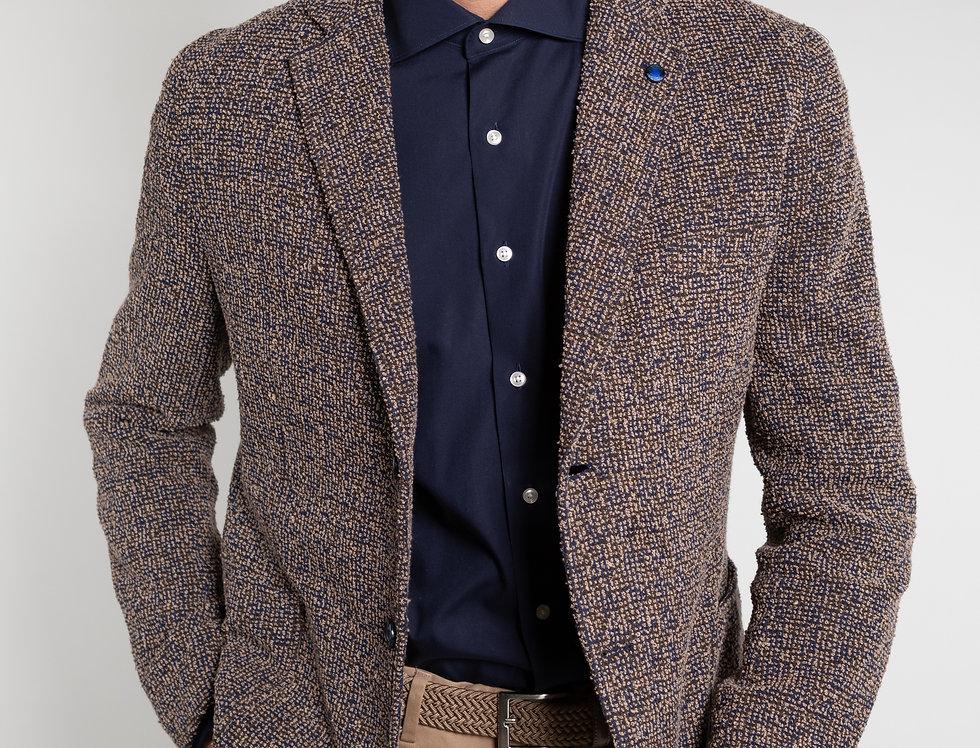 Giacca informale in jersey Boucle blu/beige/marrone