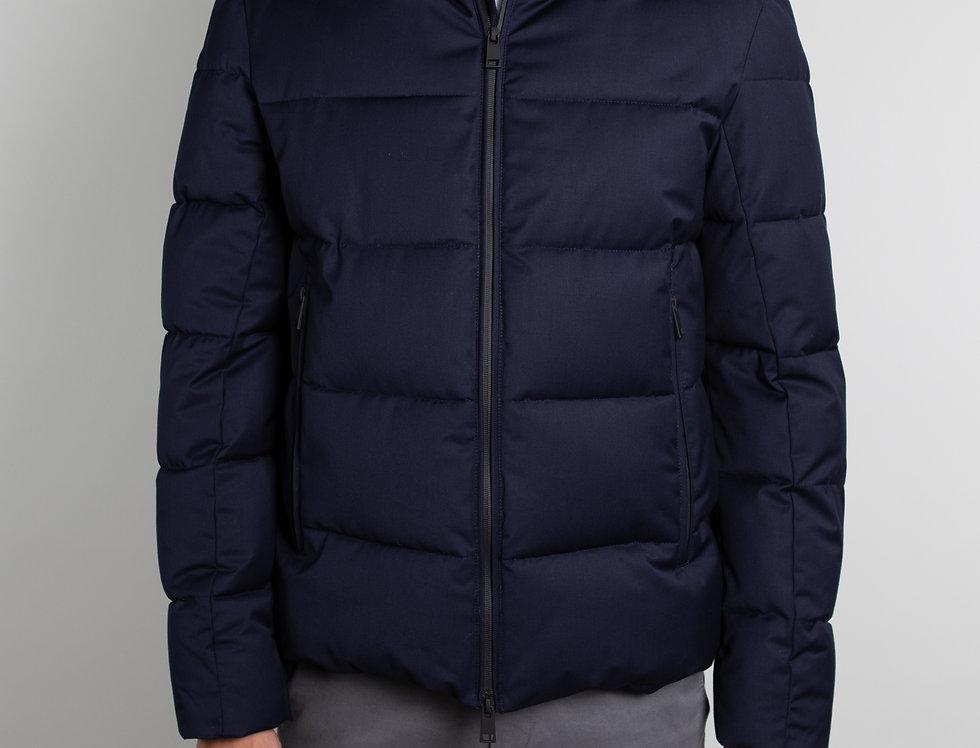 Giubbotto con cappuccio staccabile effetto lana blu
