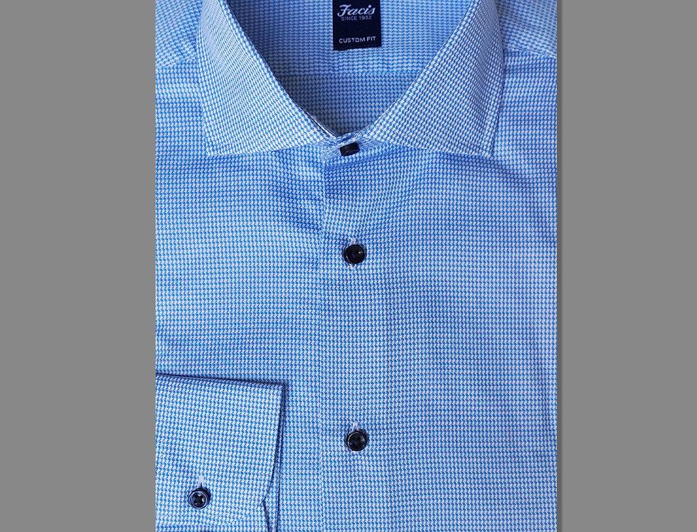Camicia in twill di puro cotone - fantasia bianco/azzurro