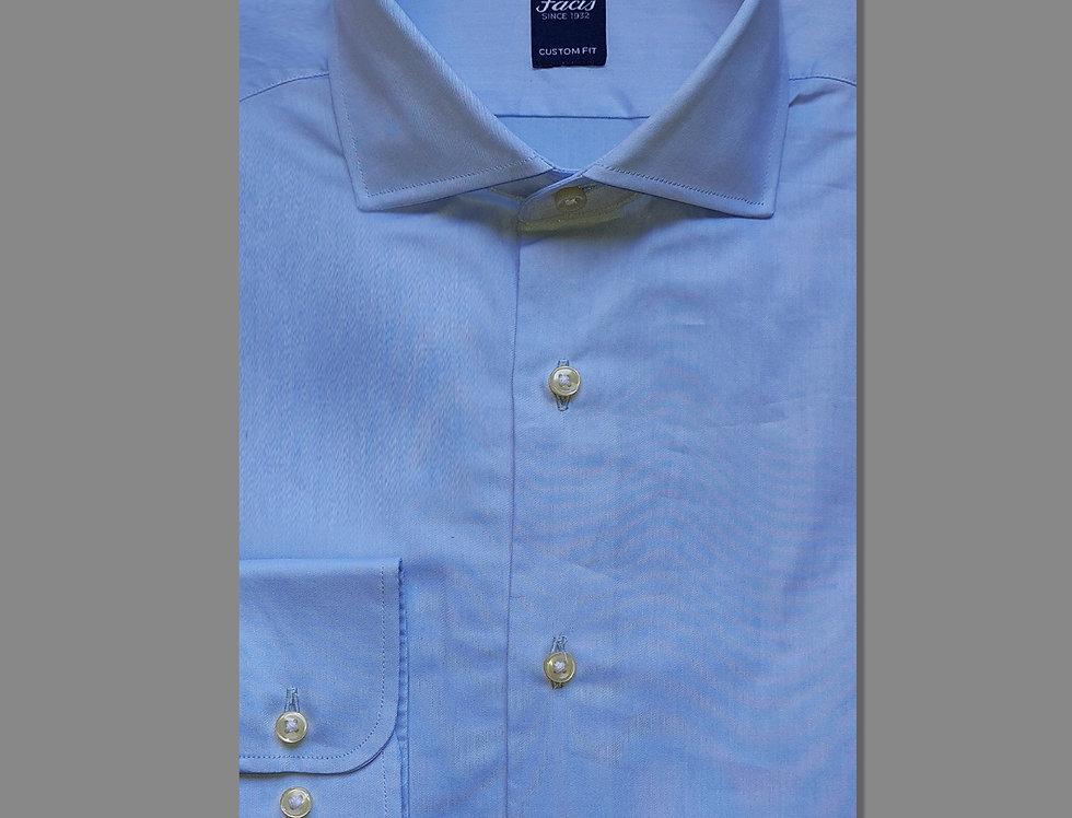 Camicia in twill di puro cotone azzurra