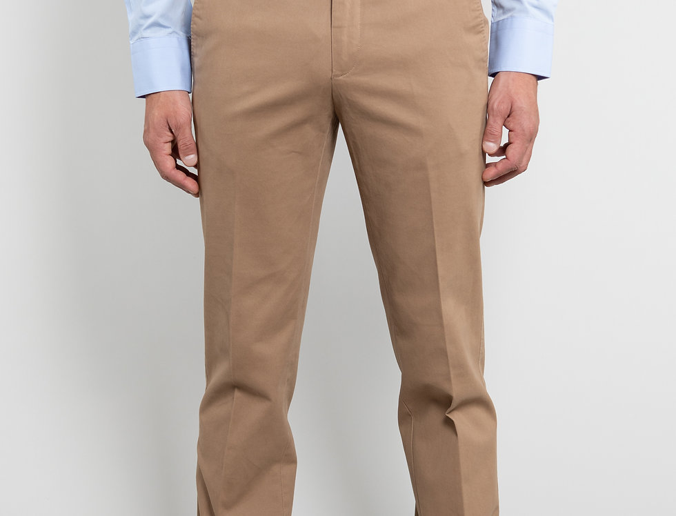 Chino in twill di cotone stretch beige