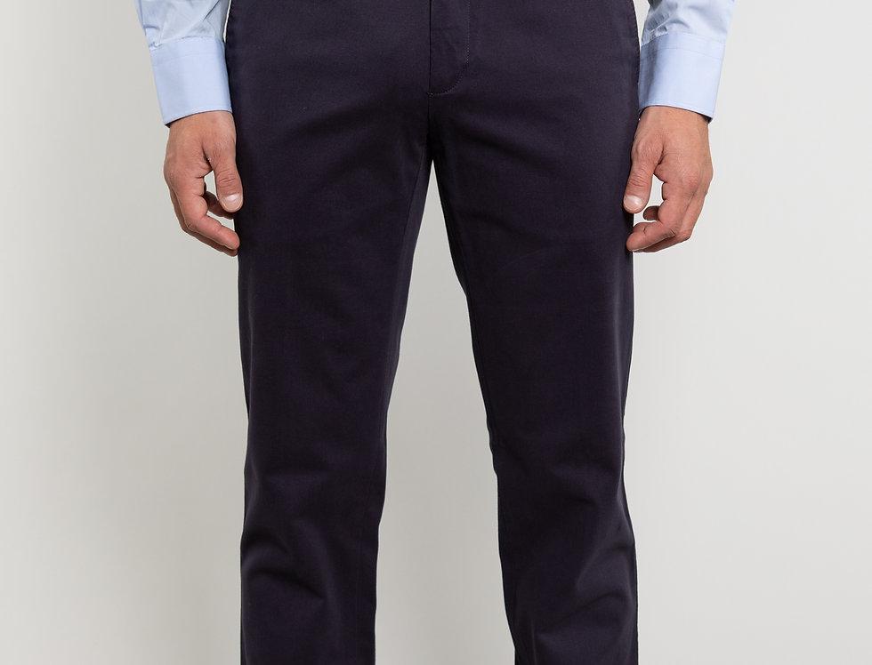 Chino in twill di cotone stretch blu scuro