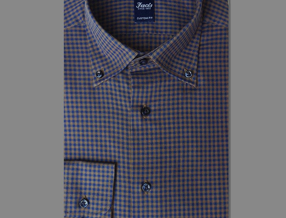Camicia button down a quadri in flanella blu/marrone