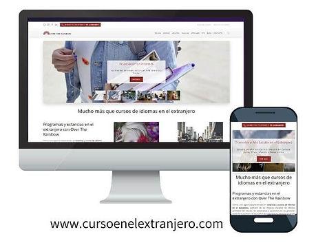 Imagen de un ordenador y un móvil con las versiones de la web para ambos dispositivos de cursoenelextranjero.com