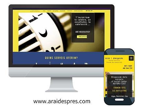 Imagen de un ordenador y un móvil con las versiones de la web para ambos dispositivos de araidespres.com