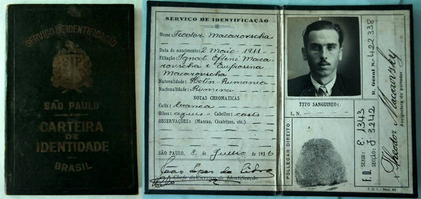 Carteira de Identidade, expedida em 1.936. (acervo de familia de Vivian Alves, documento do avô).