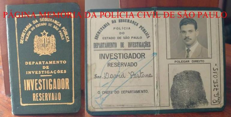 Raríssima Carteira Funcional de Investigador Reservado do DI- Departamento de Investigação da Polícia do Estado de São Paulo, de David Pestana, expedida na década de 50. Acervo do filho, Escrivão Dárcio Pestana