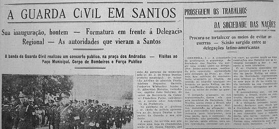Maio de 1930. A Guarda Civil chega em Santos!