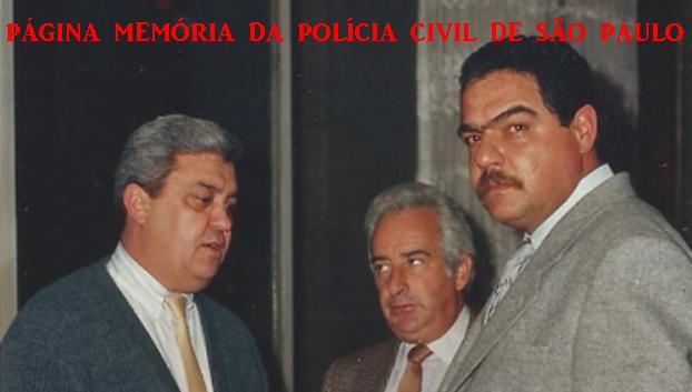 """Investigadores Chefes de Delegacias do DEIC, Lécio Bueno, Conilho e Laercio Carvalho Carvalho """"Lalá"""", na década de 80."""