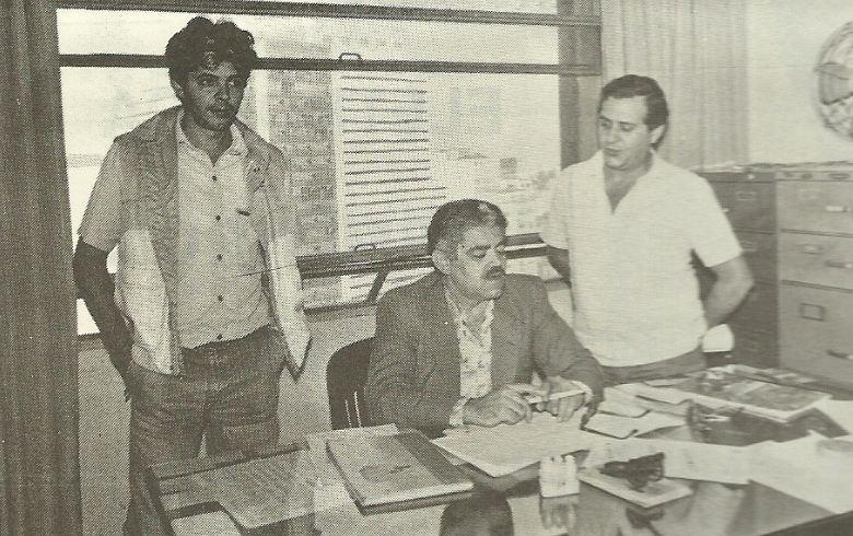 """Segunda Delegacia de Crimes Contra a Fé Pública do Deic Investigadores Paulo Sérgio Quaglioto """"Toronto"""", Ceará (Chefe) e Ricardo """"Zé Colmeia"""" de Tupã, anos 80."""
