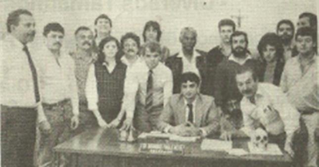 """Equipe """"H"""" da antiga Divisão de Homicídios do DEIC, em 1.988. Delegados Domingos Paulo Neto (Atual Diretor do DECAP) e João Kiss Paterno; Investigadores Ronaldo """"Pantera"""" Neto, Malacrida, Celso e Tani."""
