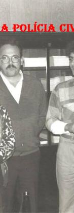 """Delegacia de Crimes Contra a Fé Pública- DIG- DEIC, em 1.988. À partir da esquerda Investigadores Valter Corrêa """"Tigrão"""", Amador Parra """"Parrinha"""" (Chefe dos Investigadores da Delegacia), Cypriano R Santos (Encarregado da equipe); Escrivão Nelson de Queiroz Motta (Atualmente Delegado Titular do 4º DP de Guarulhos e Investigador Mário Kazuo Kiyota """"Mário Japonês""""."""