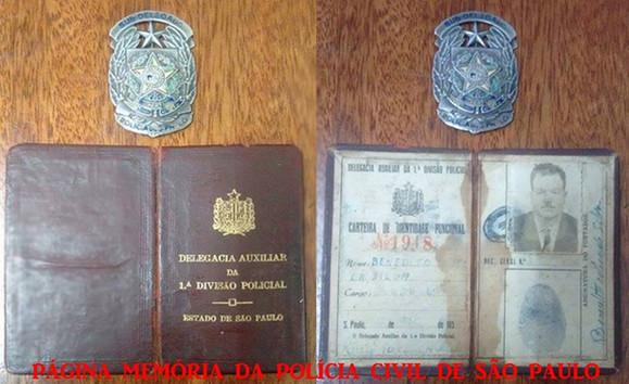 Carteira Funcional e distintivo do então Sub- Delegado Benedito Nunes da Silva (posteriormente Delegado), da antiga Delegacia Auxiliar da 1ª Divisão Policial do Estado de São Paulo (atual DECAP), emitida na década de 50. (acervo do filho, o Delegado Altamiro Nunes).
