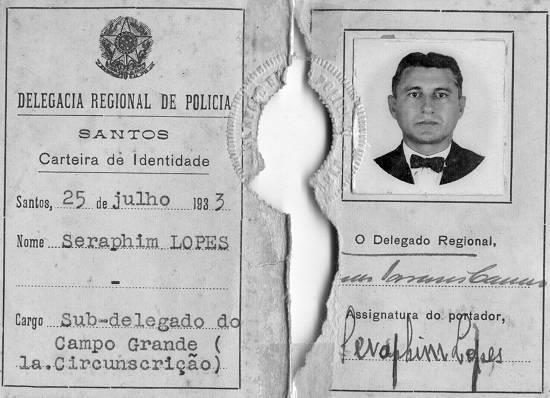 Carteira de Sub-delegado da Delegacia Regional de Polícia de Santos em 1.933.