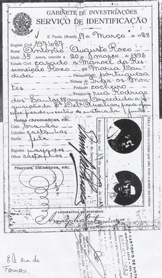 Documento de identidade do Serviço de Identificação do Gabinete de Investigações, expedido em 17 de março de 1.928.