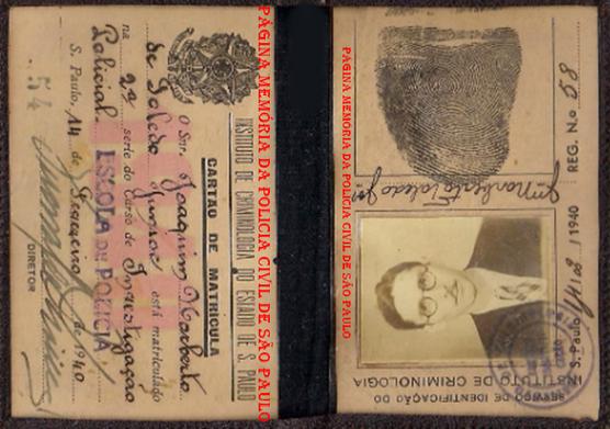 Cartão de Matrícula do Curso da Escola de Polícia, do Investigador Joaquim Norberto de Toledo Junior, expedida em 14 de janeiro de 1940.