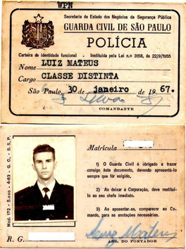 Guarda Civil SP - Carteira de Identidade Funcional do cargo Classe Distintal - 1967