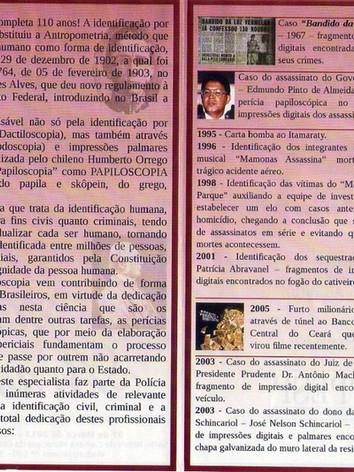 Delitos esclarecidos com o auxílio dos papiloscopistas policiais.  Acervo: Julio Ronaldo Prezia Junior.
