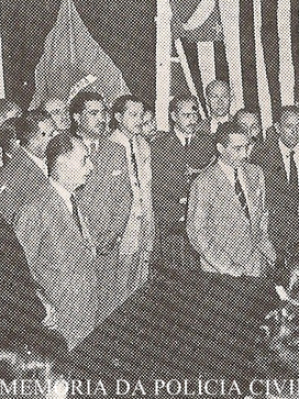 Inauguração da Sala de Imprensa no Plantão da Central de Polícia, no Pátio do Colégio, em 1948.