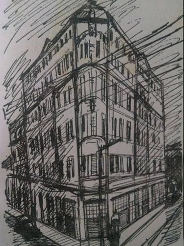 Esboço do Prédio da rua dos Gusmões, esquina com a rua Santa Efigênia, onde funcionou o GI- Gabinete de Investigações (posteriormente denominado DI e atualmente DEIC), de 1.925 a 1.949.