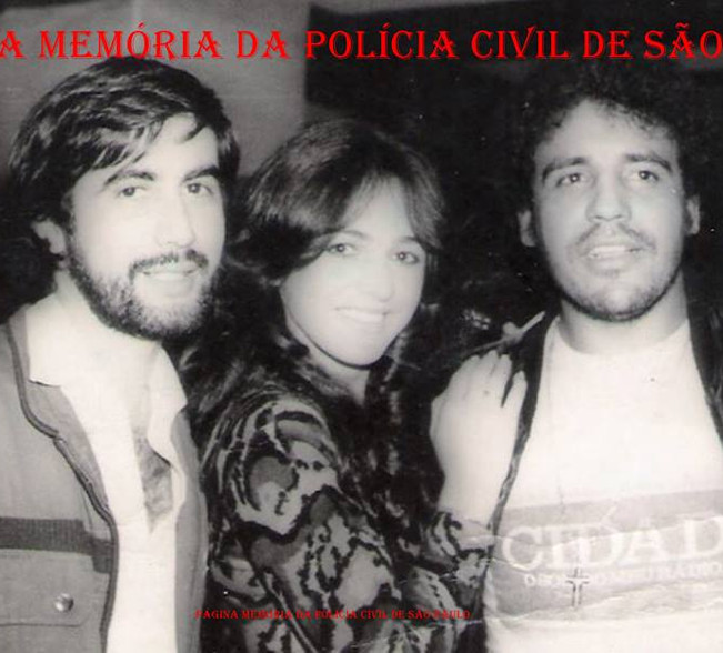 Investigadores de Polícia Walter Matos e Osvaldo Jose Dos Santos, com a atriz Zilda Maio ao centro, na década de 70.