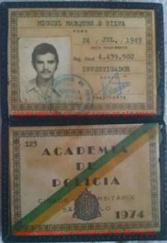 Carteira de aluno da ACADEPOL- Academia de Polícia, do Investigador Miguel Marques da Silva, atual Desembargador Presidente da 14ª Câmara Criminal do Tribunal de Justiça do Estado de São Paulo, expedida em 1.974.