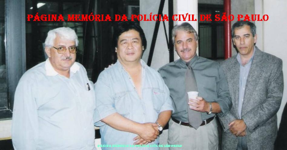 """Dependências do DEIC, na década de 90. À partir da esquerda, Investigadores Orlando Marttos, Armando Mizutani """"Bodão"""", Joãozinho e Homero Zaparolli."""