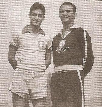 Picolé (saudoso delegado José Geraldo Camargo) e Olten, na Seleção Brasileira em Lima no Peru, campeonato Sul-Americano (1962).