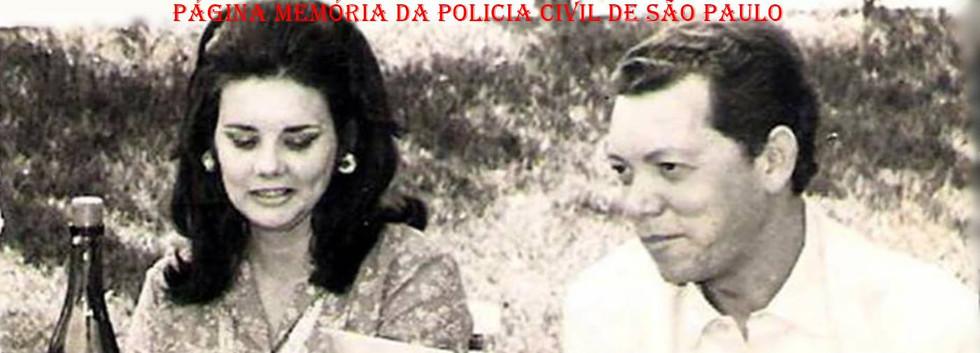 Titular da Delegacia do Município de Franca, Dr Roberto Genofre e sua esposa Investigadora Sandra de Oliveira Genofre, em um churrasco na Chácara Samello, em 1971.