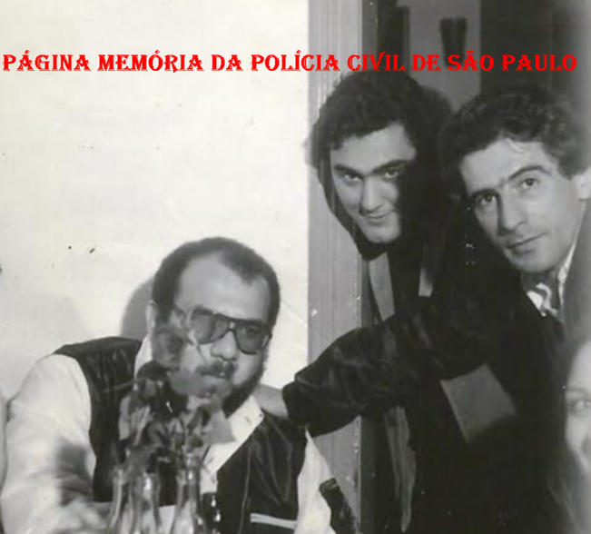 """Investigadores Dorival Candel """"in memorian"""", Mario Benedito Pinheiro """"Nazaré"""" e Mauricio """" in memorian"""", no coquetel de lançamento do filme """"Noite de Orgia"""", em 1.979. (Acervo do Investigador Osvaldinho Santos)."""