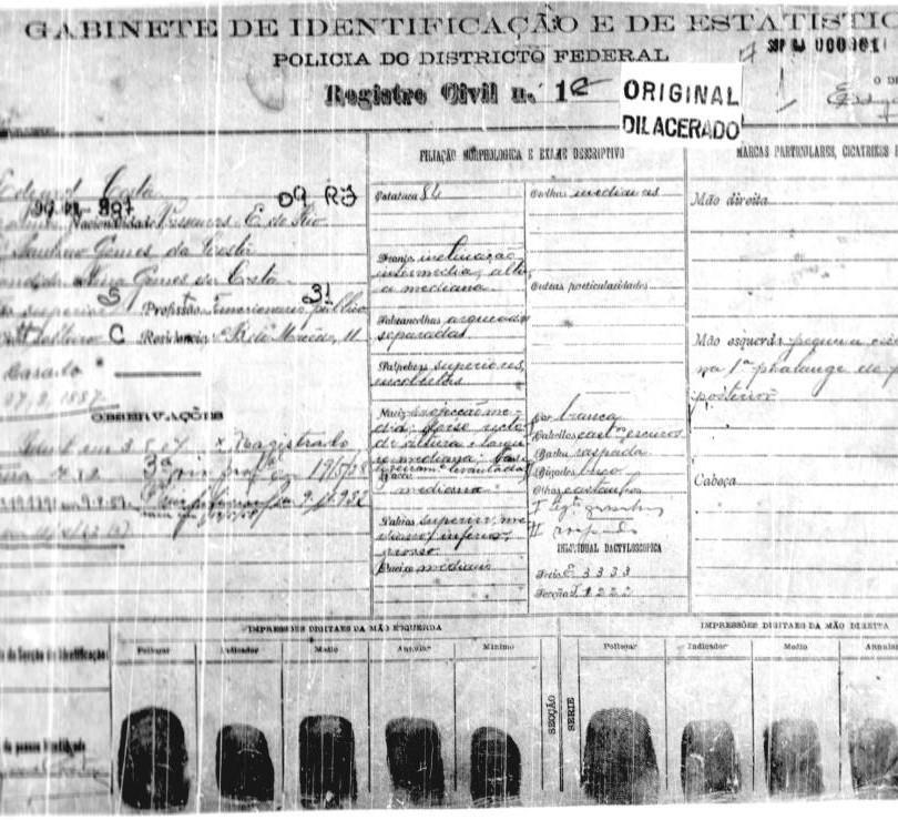 Registro da primeira identificação civil no Brasil, concedida ao Ministro Egard Costa, no Gabinete de Identificação e de Estatística da Polícia do Distrito Federal do Rio de Janeiro, em 1907.