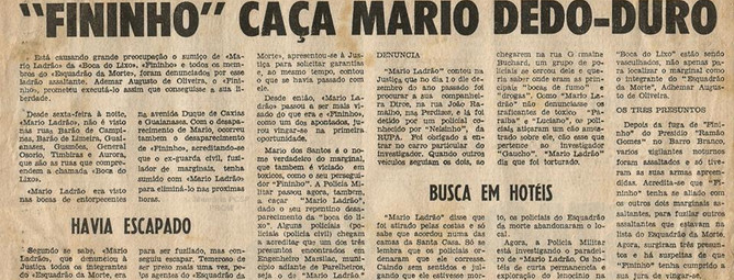 Reportagem do Jornal Última Hora, no início da década de 70.