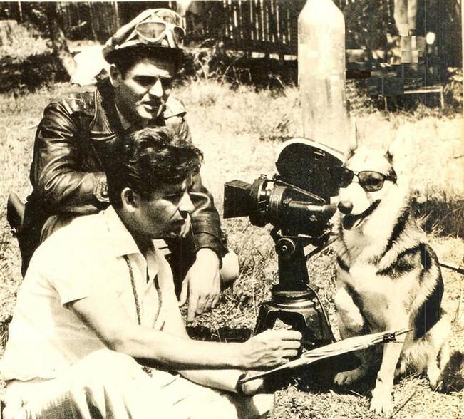 """Filmagem do seriado """"Vigilante Rodoviário"""", com o Patrulheiro Carlos e seu fiel cão Lobo, na década de 60"""