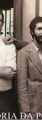 """Equipe do 5º DP- DEGRAN que marcou época: Investigadores Bogus Topojuian, Rener da Fonte Nogueira (Chefe), Dilson Claudino Bicudo """"in memorian"""", Aranis Montalban """"in memorian"""" e Coriolano Moraes Lima, """"in memorian"""", em 1.975. (acervo familiar do Investigador do 8º DP, Mário Nogueira)."""