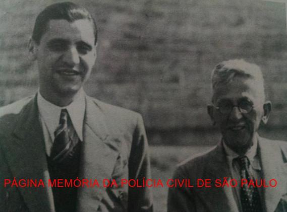 À direita, o Delegado Titular do Município de Guarulhos. João Ranalli, ladeado com o Prefeito da cidade, Major José Moreira Matos, em 10 de setembro de 1.940, em visita a área destinada à construção da Base Aérea de Cumbica.