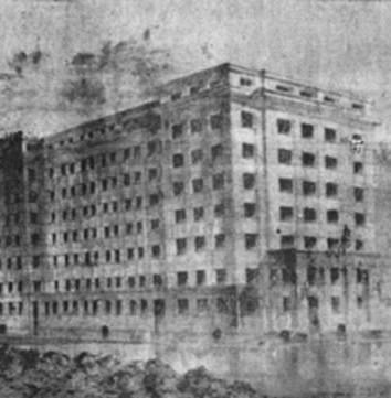 Projeto do Palácio da Polícia de Santos. O original contava com seis andares e terraço (anos 40).
