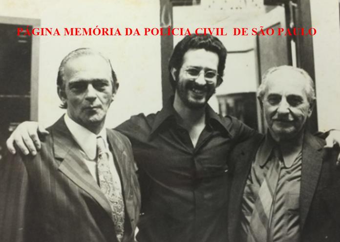 """Chefes da DIG do DEIC, na década 70. Investigadores Lourenço Gonzalez (um dos últimos policial civil a ter o extinto cargo de Inspetor de Polícia), Sebastião Pereira """"Tião"""" e Mario Frangela."""