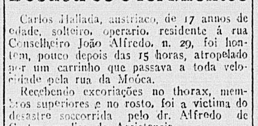 Reportagem do início do Século XX, sobre vítima de atropelamento, sendo que o cocheiro evadiu-se do local.
