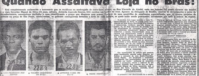 Reportagem do Jornal Última Hora, de 22 de março de 1.963, sobre esclarecimento de roubo na região do Brás, por Investigadores da Delegacia de Roubos do Departamento de Investigações- DI.