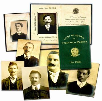 Carteiras de Inspetores de Polícia do Corpo de Agentes da Segurança Pública do Estado de São Paulo, usado entre 1.907 e 1.913.